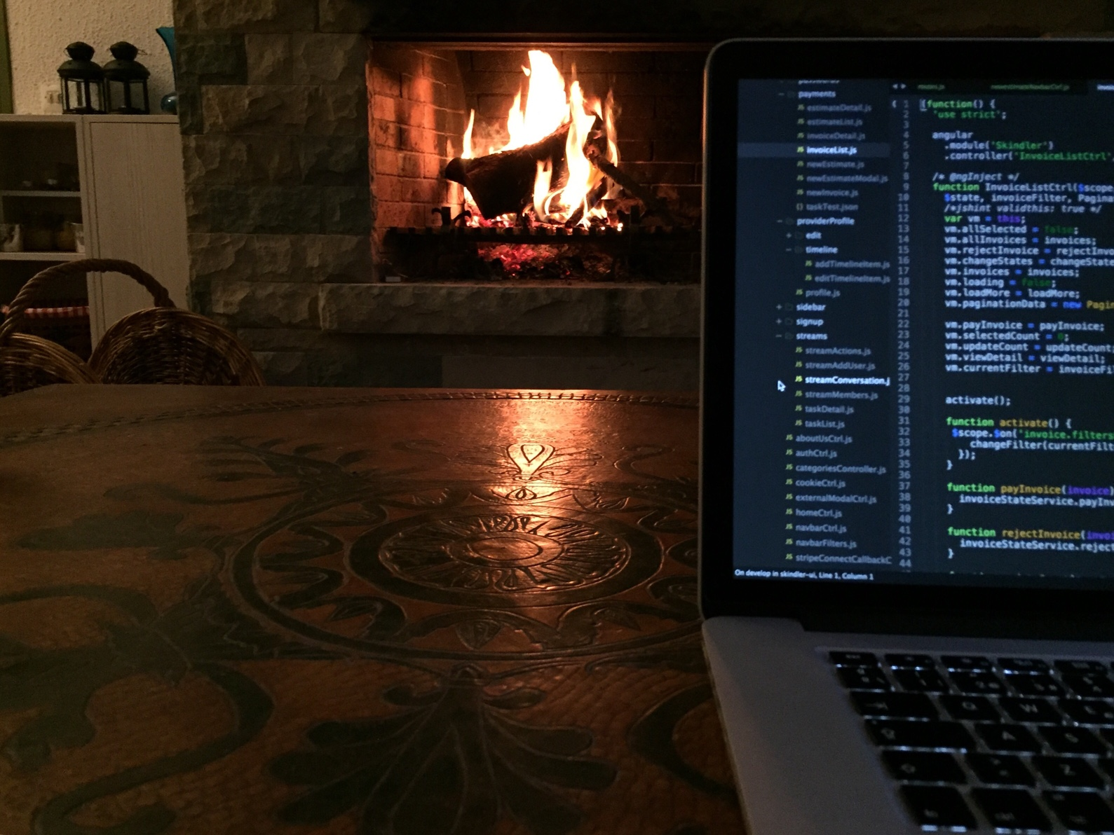 Coding by the fireplace